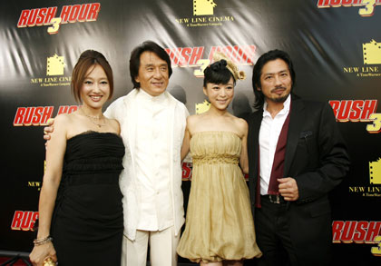 Actors Youki Kudoh, Jackie Chan, Jingchu Zhang and Hiroyuki Sanada pose at the premiere of