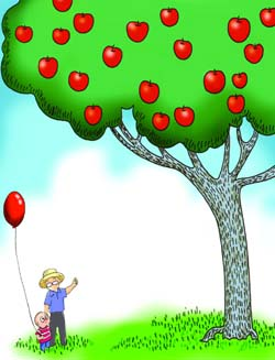 A boy and his apple tree 男孩和苹果树