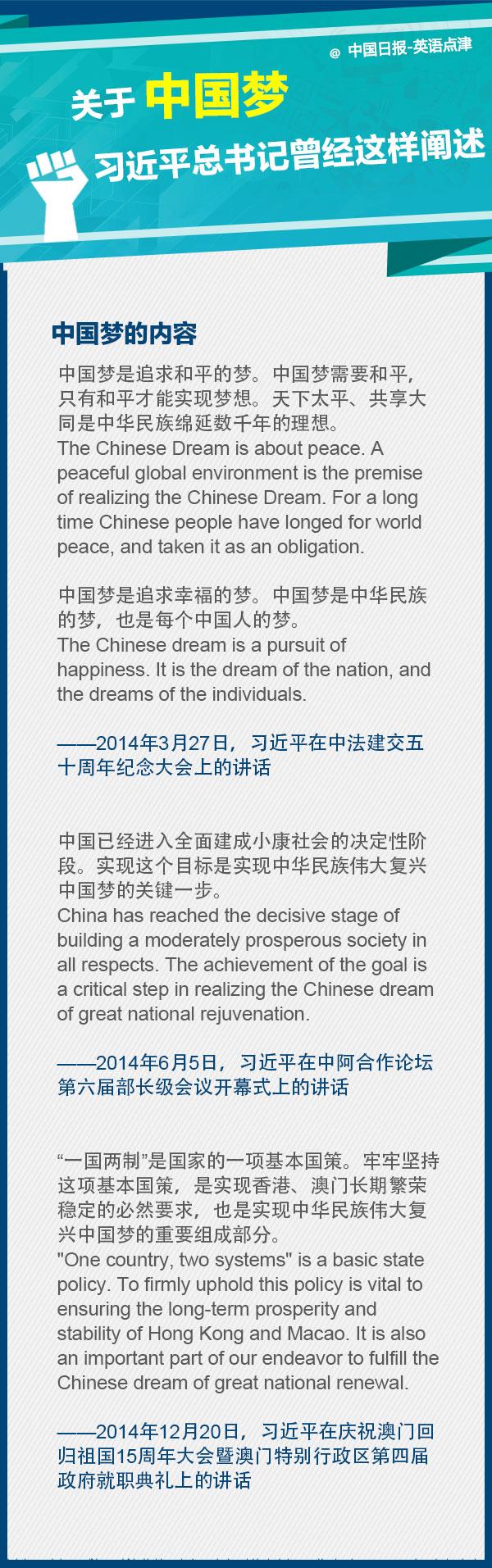 关于中国梦,习近平总书记曾经这样阐述