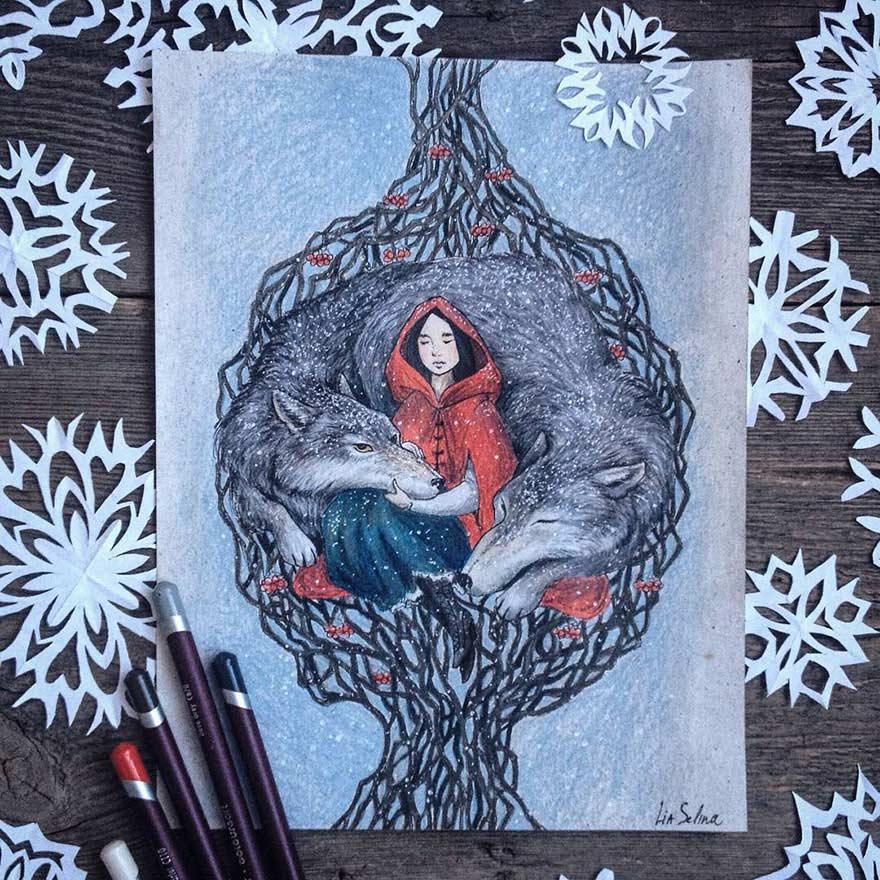 细腻而温暖 童话主题彩铅手绘 组图