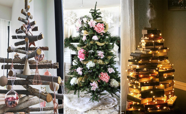 """还在摆放传统的圣诞树?快来试试圣诞""""枕""""、圣诞""""书""""和圣诞""""花""""!"""