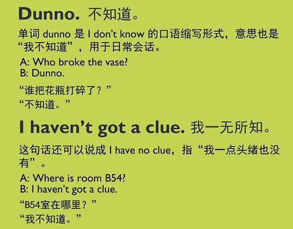 """五种英语表达说""""不知道"""""""