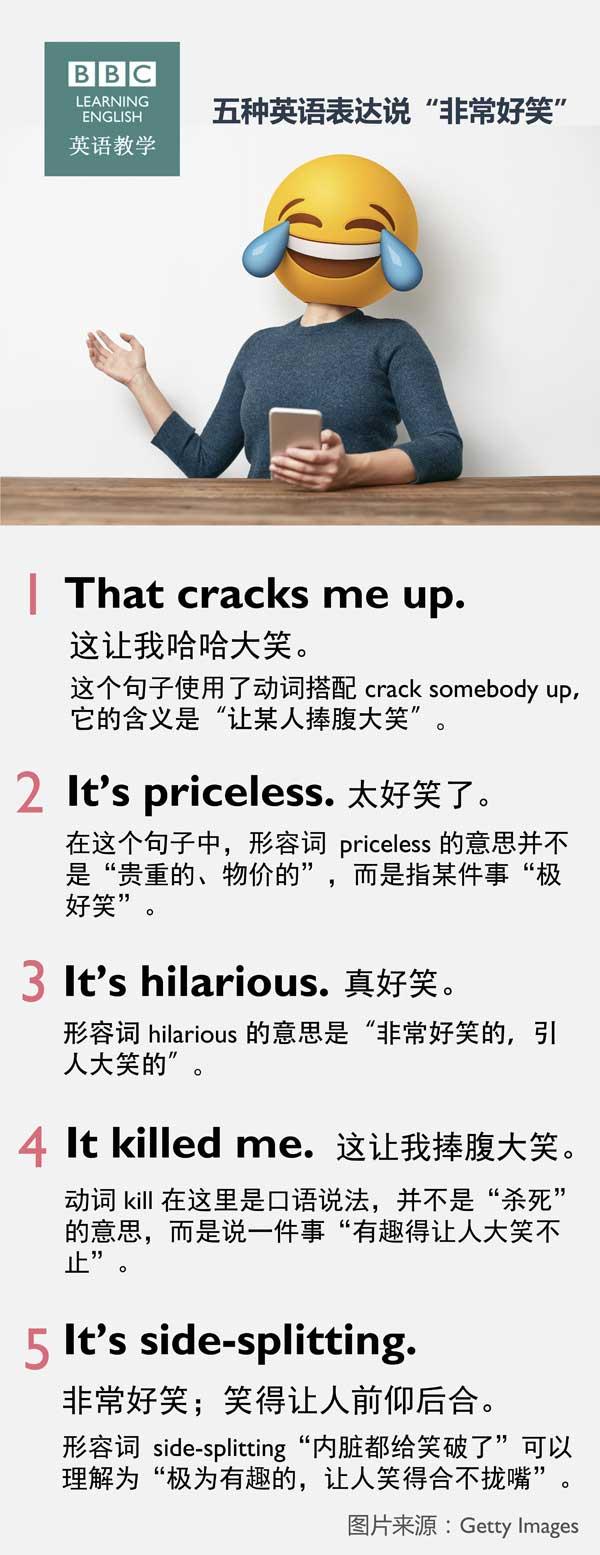 """五种英语表达说""""非常好笑"""""""