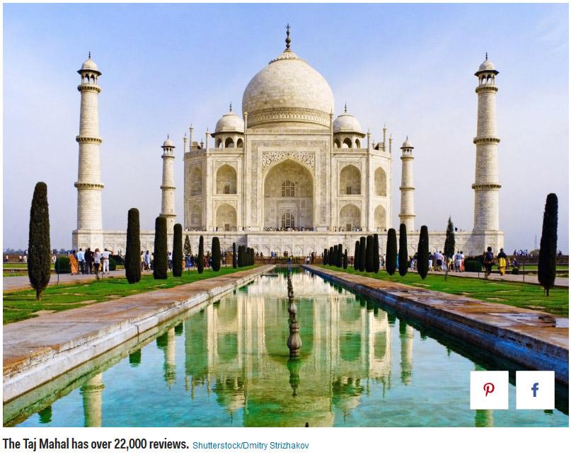 5. Taj Mahal in Agra, India 泰姬陵,阿格拉,印度