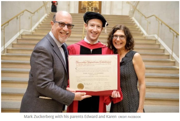 扎克伯格辍学12年后终获哈佛学位(毕业演讲视频)