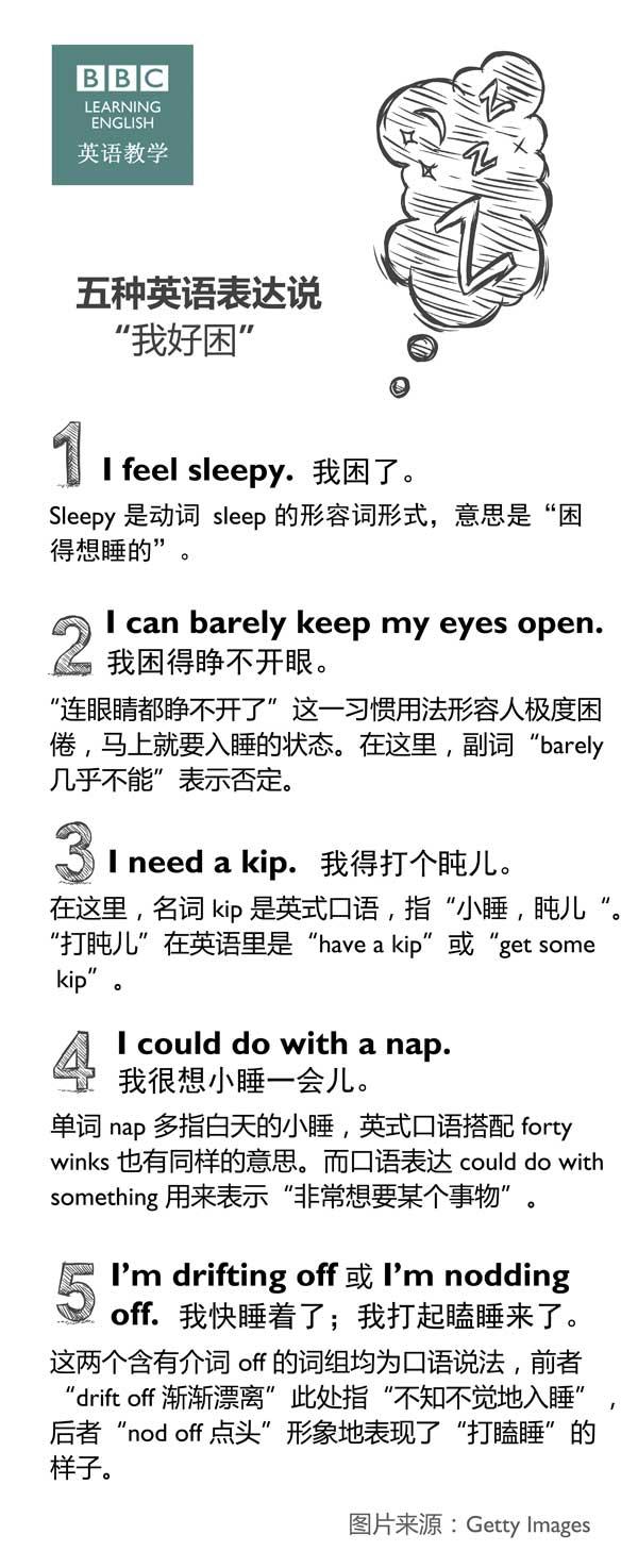 """五种英语表达说""""我好困"""""""