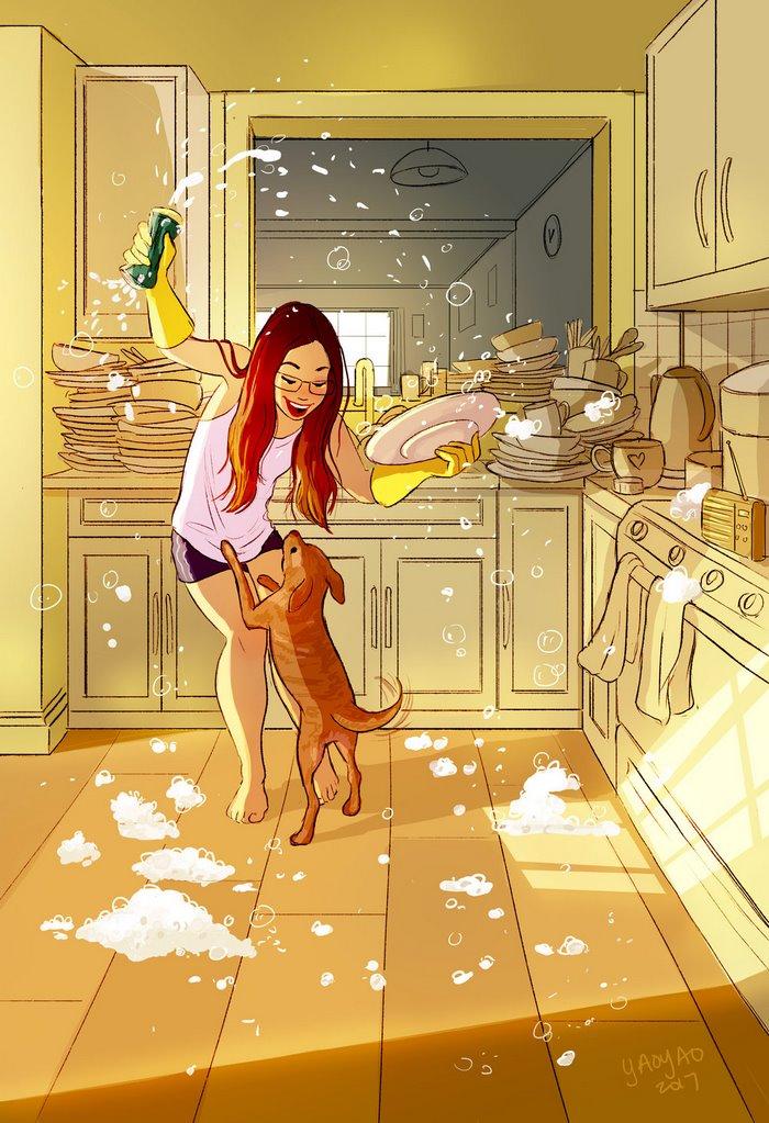漫画揭示单身女孩的幸福生活(组图)