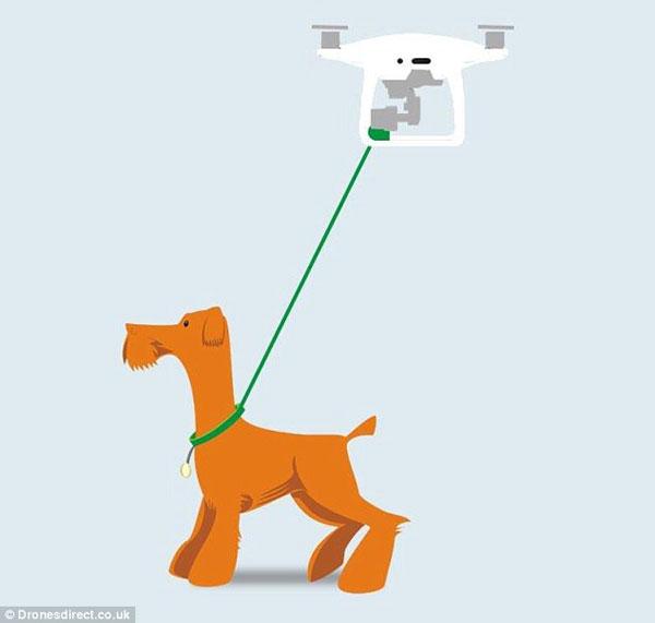 无人机可沿GPS定位路线帮你遛狗