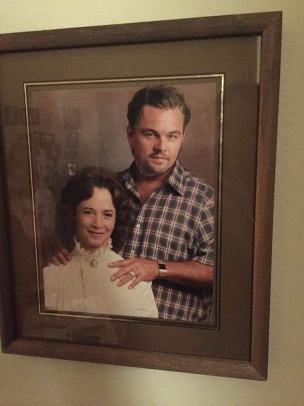 Grandma Put A Magazine Cut Out Of Leonardo DiCaprio Over Her Late (Not So Nice) Husband's Face. The 80+ Year Old's Version Of Photoshop