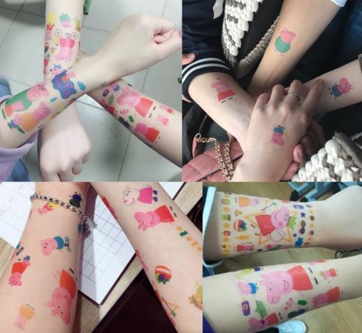 许多网友在平台上晒出自己的小猪佩奇纹身贴.图片