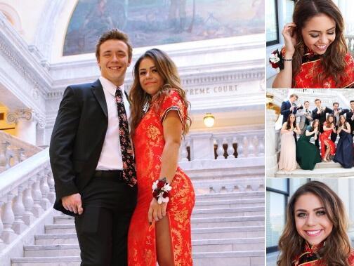美国女生毕业舞会穿旗袍引争议 但获中国网友支持