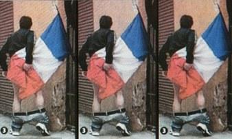 法男子用国旗擦屁股照片引热议