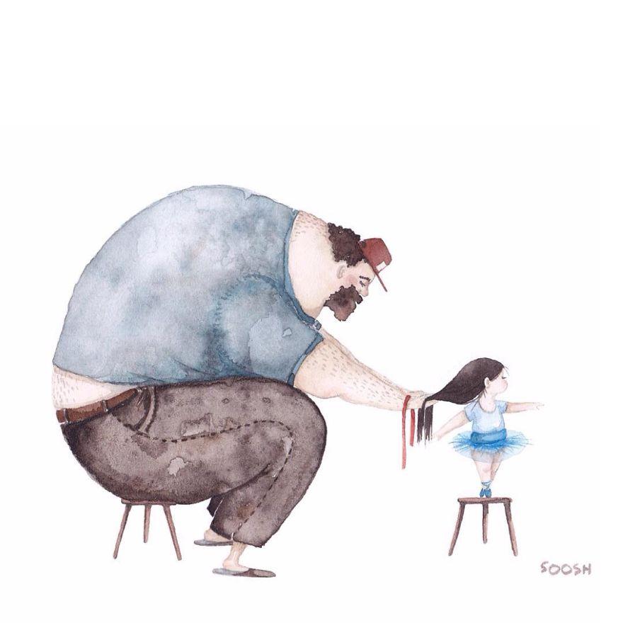 温馨手绘:一对父女的幸福生活(组图)[2]